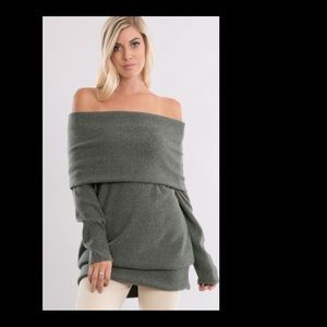 NWT Gray off the Shoulder Sweater